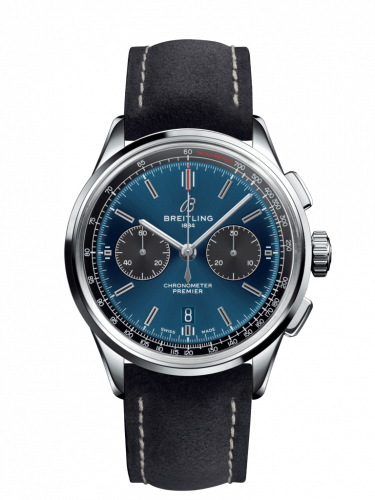AB0118A61C1X4 : Breitling Premier B01 Chronograph 42 Stainless Steel / Blue / Anthracite Nubuck / Pin
