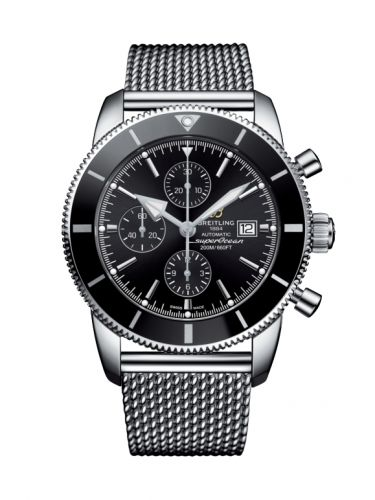 Breitling A1331212/BF78/152A : Superocean Heritage II 46 Chronograph Stainless Steel / Black / Black /  Milanese