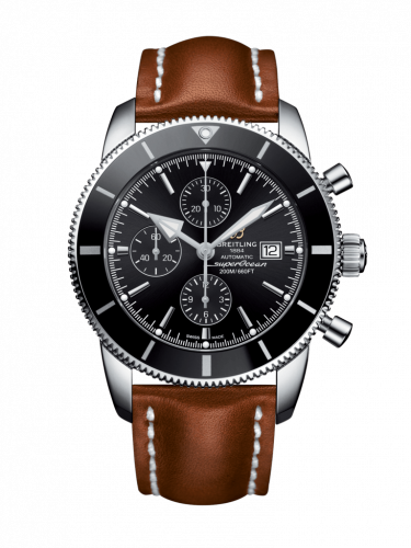 Breitling A1331212/BF78/439X/A20BA.1 : Superocean Heritage II 46 Chronograph Stainless Steel / Black / Black /  Calf / Pin