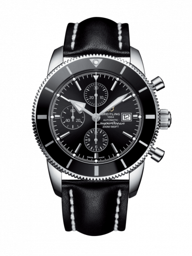 Breitling A1331212/BF78/441X/A20BA.1 : Superocean Heritage II 46 Chronograph Stainless Steel / Black / Black /  Calf / Pin
