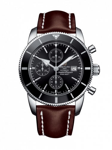 Breitling A1331212/BF78/443X/A20BA.1 : Superocean Heritage II 46 Chronograph Stainless Steel / Black / Black /  Calf / Pin