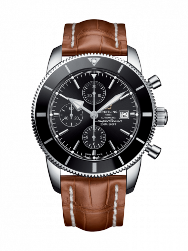 Breitling A1331212/BF78/754P/A20BA.1 : Superocean Heritage II 46 Chronograph Stainless Steel / Black / Black /  Croco / Pin