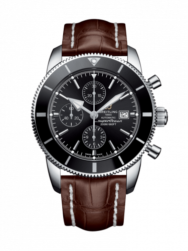 Breitling A1331212/BF78/757P/A20D.1 : Superocean Heritage II 46 Chronograph Stainless Steel / Black / Black /  Croco / Folding