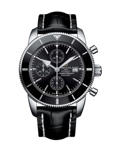 Breitling A1331212/BF78/760P/A20BA.1 : Superocean Heritage II 46 Chronograph Stainless Steel / Black / Black /  Croco / Pin