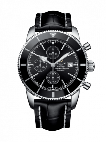 Breitling A1331212/BF78/761P/A20D.1 : Superocean Heritage II 46 Chronograph Stainless Steel / Black / Black /  Croco / Folding