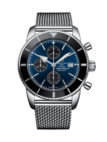 Breitling A1331212/C968/152A : Superocean Heritage II 46 Chronograph Stainless Steel / Black / Blue /  Milanese