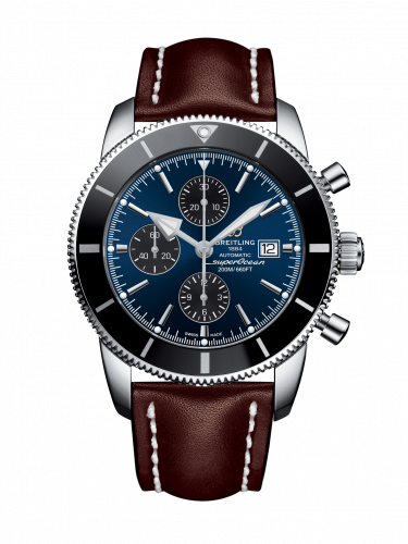 Breitling A1331212/C968/443X/A20BA.1 : Superocean Heritage II 46 Chronograph Stainless Steel / Black / Blue / Calf / Pin