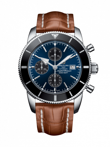 Breitling A1331212/C968/754P/A20BA.1 : Superocean Heritage II 46 Chronograph Stainless Steel / Black / Blue / Croco / Pin