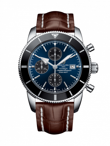 Breitling A1331212/C968/757P/A20D.1 : Superocean Heritage II 46 Chronograph Stainless Steel / Black / Blue / Croco / Folding