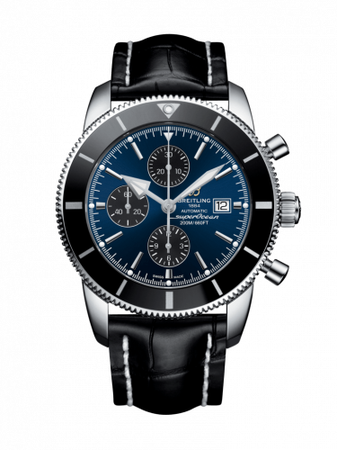 Breitling A1331212/C968/761P/A20D.1 : Superocean Heritage II 46 Chronograph Stainless Steel / Black / Blue / Croco / Folding