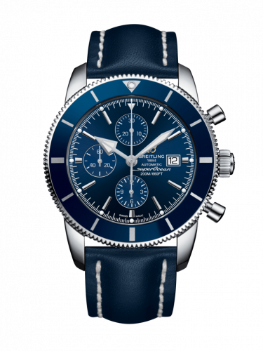 Breitling  A1331216/C963/102X/A20D.1 : Superocean Heritage II 46 Chronograph Stainless Steel / Blue / Blue /  Calf / Folding