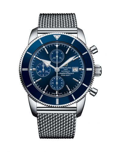 Breitling A13312161C1A1 : Superocean Heritage II 46 Chronograph Stainless Steel / Blue / Blue /  Milanese