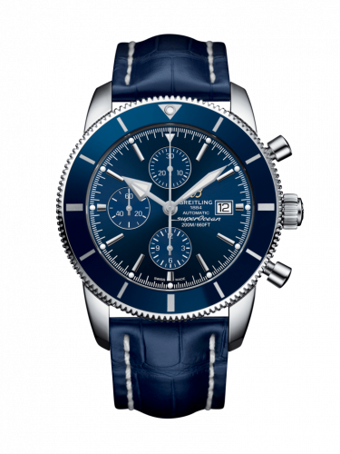 Breitling  A1331216/C963/747P/A20D.1 : Superocean Heritage II 46 Chronograph Stainless Steel / Blue / Blue /  Croco / Folding