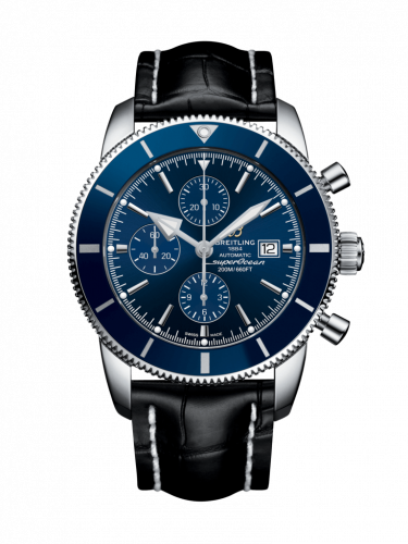 Breitling A1331216/C963/761P/A20D.1 : Superocean Heritage II 46 Chronograph Stainless Steel / Blue / Blue /  Croco / Folding