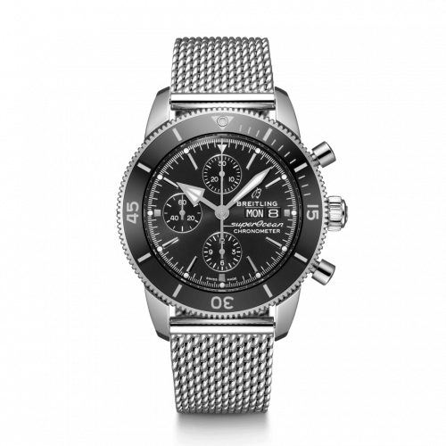 Breitling A13313121B1A1 : Superocean Heritage II Chronograph 44 Stainless Steel / Black / Milanese