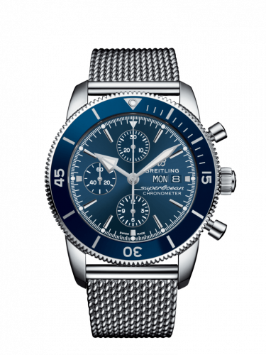 Breitling A13313161C1A1 : Superocean Heritage II Chronograph 44 Stainless Steel / Blue / Milanese