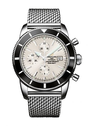 Breitling A1332024.G698.152A : Superocean Heritage 46 Chronograph Stainless Steel / Black / Stratus Silver / Milanese