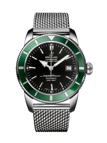 Breitling A1732136.BA61.154A : Superocean Heritage 42 Stainless Steel / Green / Volcano Black / Milanese