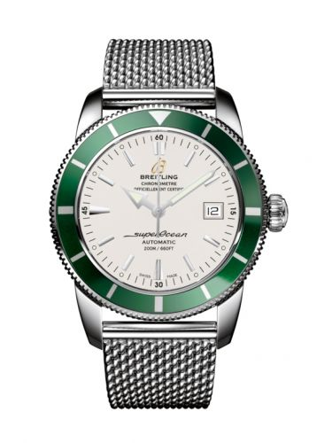 Breitling A1732136.G717.154A : Superocean Heritage 42 Stainless Steel / Green / Stratus Silver / Milanese