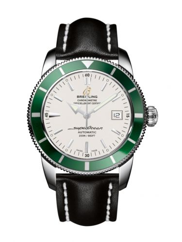 Breitling A1732136.G717.435X : Superocean Heritage 42 Stainless Steel / Green / Stratus Silver / Calf