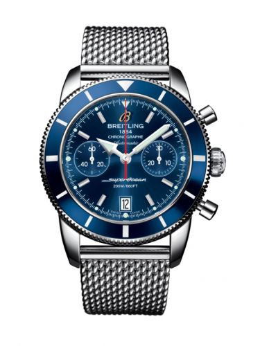 Breitling A2337016.C856.154A : Superocean Heritage 44 Chronograph Stainless Steel / Blue / Blue / Milanese