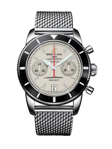 Breitling A2337024.G753.154A : Superocean Heritage 44 Chronograph Stainless Steel / Black / Silver / Milanese