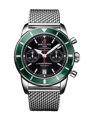 Breitling A2337036.BB81.154A : Superocean Heritage 44 Chronograph Stainless Steel / Green / Black / Milanese
