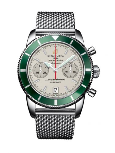 Breitling A2337036.G753.154A : Superocean Heritage 44 Chronograph Stainless Steel / Green / Silver / Milanese