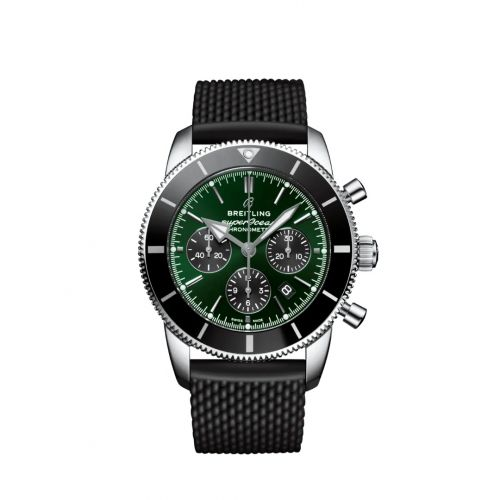 Breitling AB01621A1L1S1 : Superocean Heritage II B01 Chronograph 44 Stainless Steel / Green / Rubber