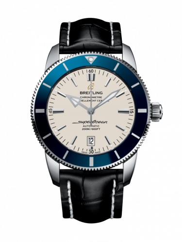 Breitling AB202016/G828/760P/A20BA.1 : Superocean Heritage II 46 Stainless Steel / Blue / Silver / Croco / Pin