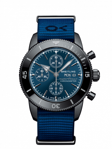 Breitling M133132A1C1W1 : Superocean Heritage II Chronograph 44 Outerknown Stainless Steel / Blue / Econyl