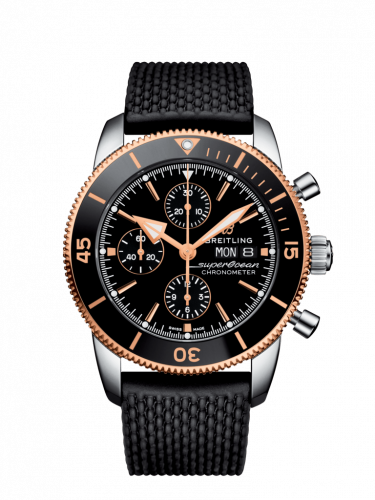 Breitling U13313121B1S1 : Superocean Heritage II Chronograph 44 Stainless Steel / Rose Gold / Black / Rubber / Folding