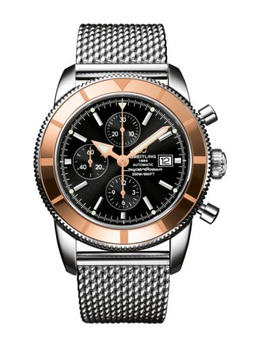 Breitling U1332012.B908.152A : Superocean Heritage 46 Chronograph Stainless Steel / Red Gold  / Black /  Milanese