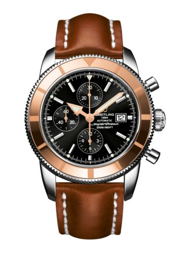 Breitling U1332012.B908.439X : Superocean Heritage 46 Chronograph Stainless Steel / Red Gold  / Black /  Calf