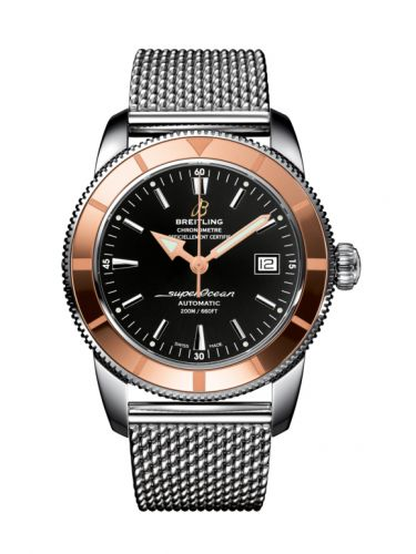 Breitling U1732112.BA61.154A : Superocean Heritage 42 Stainless Steel / Red Gold / Volcano Black / Milanese