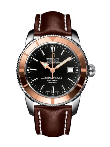 Breitling U1732112.BA61.437X : Superocean Heritage 42 Stainless Steel / Red Gold / Volcano Black / Calf