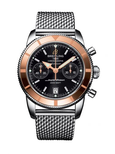Breitling U2337012.BB81.154A : Superocean Heritage 44 Chronograph Stainless Steel / Red Gold / Black / Milanese