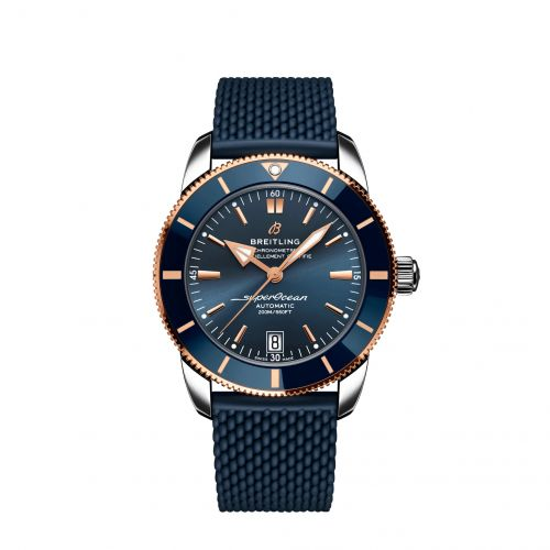 Breitling UB2010161C1S1 : Superocean Heritage II B20 Automatic 42 Stainless Steel / Red Gold / Blue / Rubber