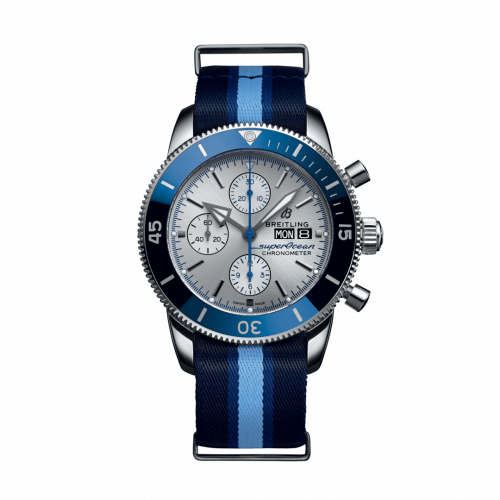 Breitling A133131A1G1W1 : Superocean Heritage II Chronograph 44 Stainless Steel / Silver / NATO / Ocean Conservancy