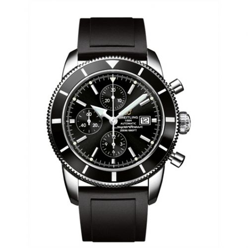 Breitling A1332024.B908135S : Superocean Heritage 46 Chronograph Stainless Steel / Black / Black / Rubber