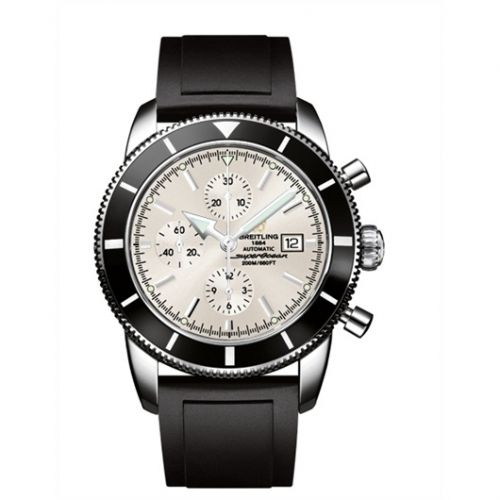 Breitling A1332024.G698.135S : Superocean Heritage 46 Chronograph Stainless Steel / Black / Stratus Silver / Rubber