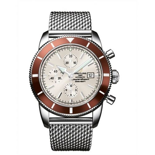 Breitling A1332033.G698.144A : Superocean Heritage 46 Chronograph Stainless Steel / Bronze / Stratus Silver / Milanese