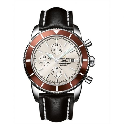 Breitling A1332033.G698.441X : Superocean Heritage 46 Chronograph Stainless Steel / Bronze / Stratus Silver / Calf