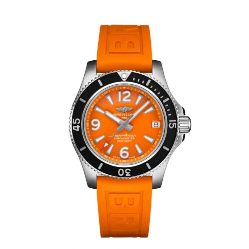 Breitling A17316D71O1S1 : Superocean 36 Stainless Steel / Orange / Rubber