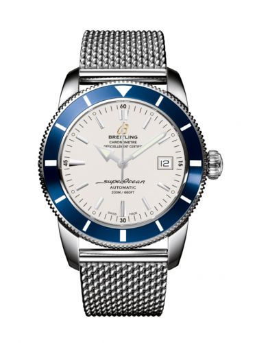 Breitling A1732116|G717|154A : Superocean Heritage 42 Stainless Steel / Blue / Stratus Silver / Milanese