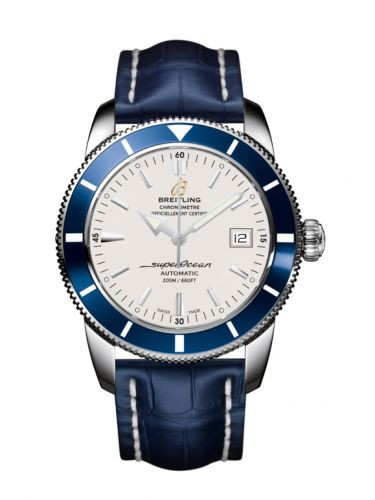 Breitling A1732116.G717.731P : Superocean Heritage 42 Stainless Steel / Blue / Stratus Silver / Croco