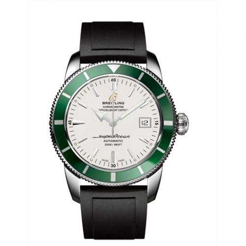 Breitling A1732136.G717.131S : Superocean Heritage 42 Stainless Steel / Green / Stratus Silver / Rubber