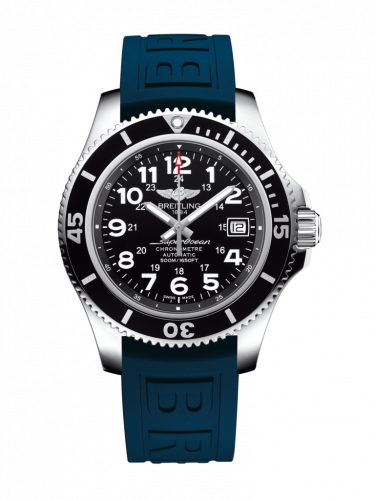 Breitling A17365C9/BD67/148S/A18S.1 : Superocean II 42 Stainless Steel / Volcano Black / Rubber / Pin