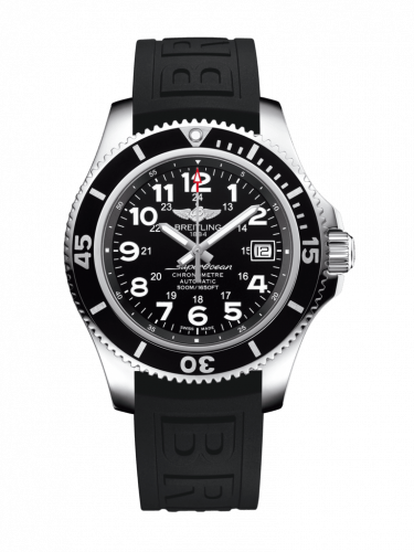 Breitling A17365C91B1S2 : Superocean II 42 Stainless Steel / Volcano Black / Rubber / Folding