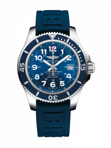 Breitling A17365D11C1S2 : Superocean II 42 Stainless Steel / Blue / Mariner Blue / Rubber / Pin